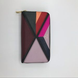 Fossil multi color zip up wallet
